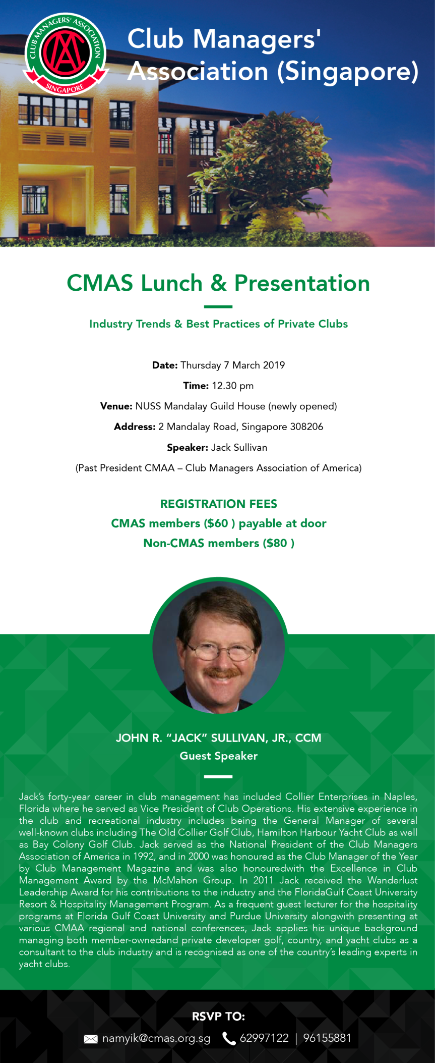 CMAS Lunch & Presentation with Guest Speaker, John Sullivan, 7 Mar 2019