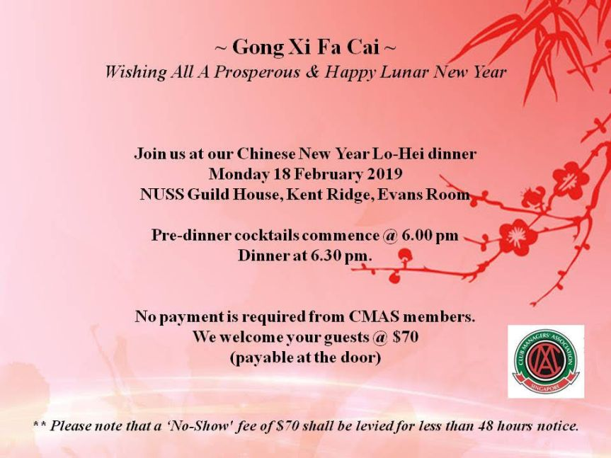 Invitation to CMAS CNY Lo Hei Dinner 2019